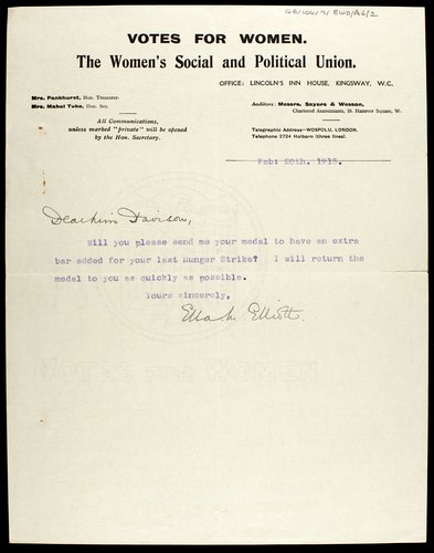 Letter from the WSPU to Emily Wilding Davison concerning her hunger strike medal