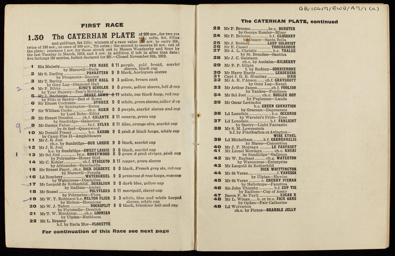 Emily Wilding Davison's race card from the Epsom Derby