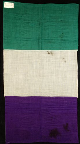 WSPU flags in the suffragette colours