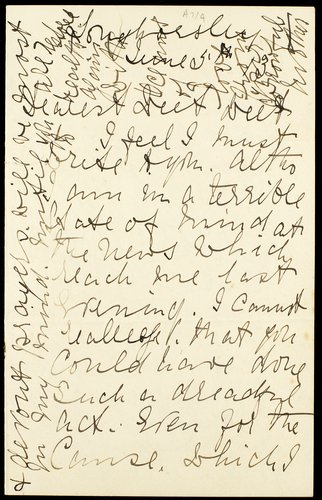 Letter with envelope from Emily Wilding Davison's mother