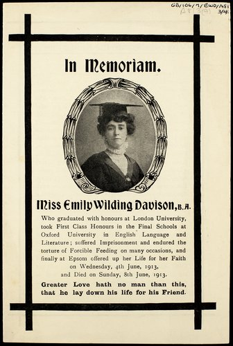 Funeral Service programme for Emily Wilding Davison
