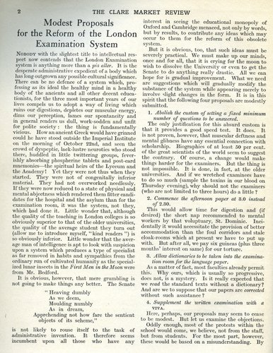 Clare Market Review, article by Lionel Robbins, 'Modest proposals for the reform of the London examination system', Vol 4 No 1 Michaelmas Term 1923