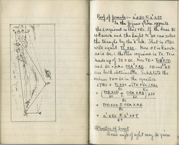 Artillery notebook kept by Lionel Robbins, 1916