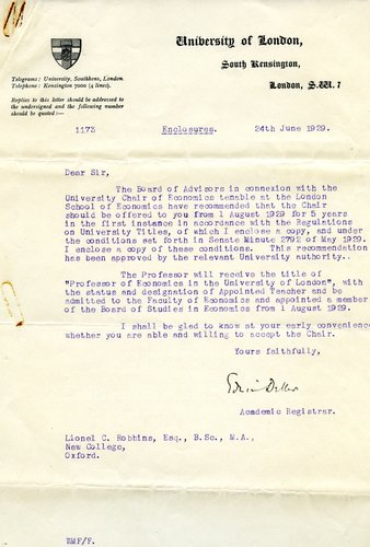Letter to Lionel Robbins offering him the position as Chair of Economics at LSE, 1929