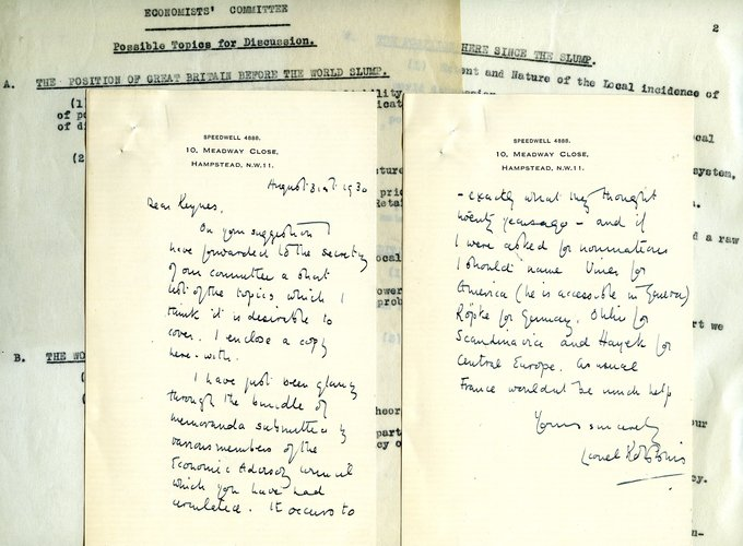 Letter and notes from Lionel Robbins to John Maynard Keynes regarding the Economic Advisory Council, 1930