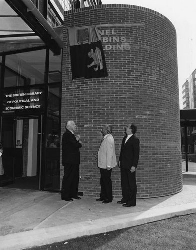 Lionel Robbins, Sir Huw Wheldon and Professor Ralf Dahrendorf at the naming of the Lionel Robbins Building, 27th July 1978