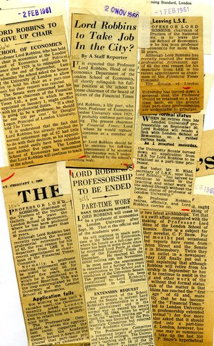 Press cuttings regarding Lionel Robbins resignation as Chair of Economics at LSE and new post at the Financial Times, 1960 - 1961