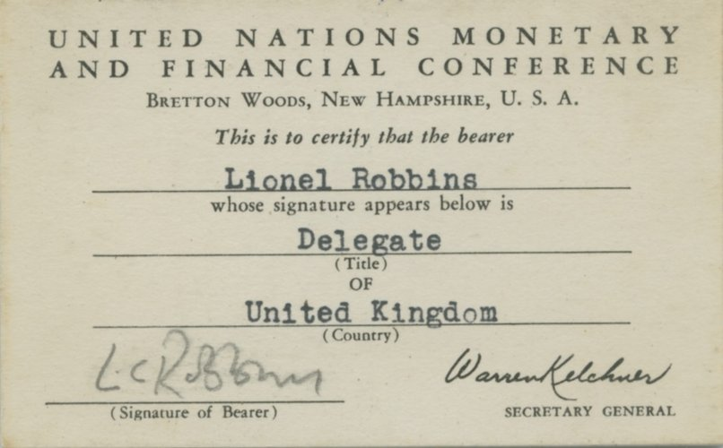Bretton Woods delegate card, 1944