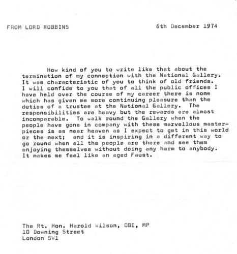 Letter from Lionel Robbins to Harold Wilson re letter of thanks from Wilson to Robbins re his work for the National Gallery, 06/12/1974