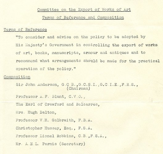 Terms of reference of the Reviewing Committee on the Export of Works of Art and letter from Lionel Robbins agreeing to sit on the committee, 1962