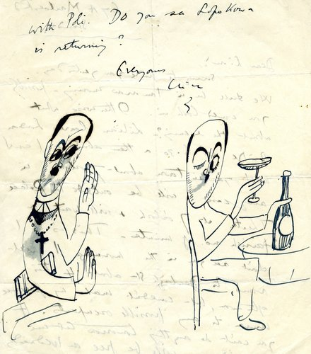 One of a number of illustrated letters from Clive Gardiner, artist, brother-in-law, and friend of Lionel Robbins