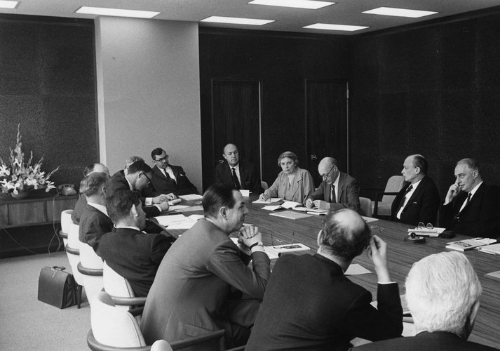 Members of the Committee of Enquiry into Higher Education, including Lionel Robbins, taken during the Committee's visit to Stanford, 1962