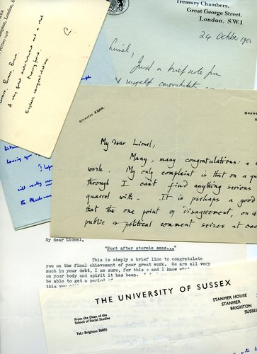 Letters of congratulation on publication of The Robbins Report, 1963