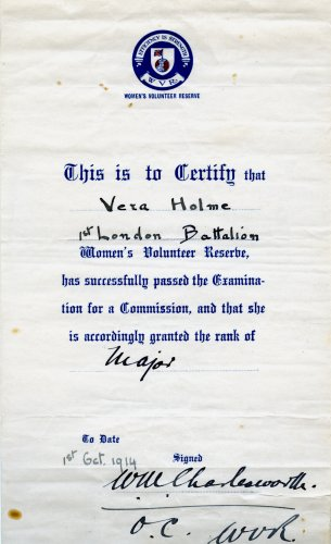 Women's Volunteer Reserve certificate awarded to Vera Holme, 1 October 1914