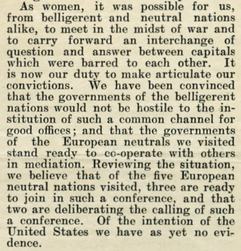 Manifesto issued by Envoys of the International Congress of Women at the Hague to the Governments of Europe, and the President of the United States, 15 October 1915