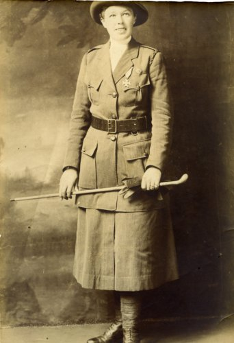 Photograph portrait of Vera 'Jack' Holme in Scottish Women's Hospitals Unit uniform, c.1916