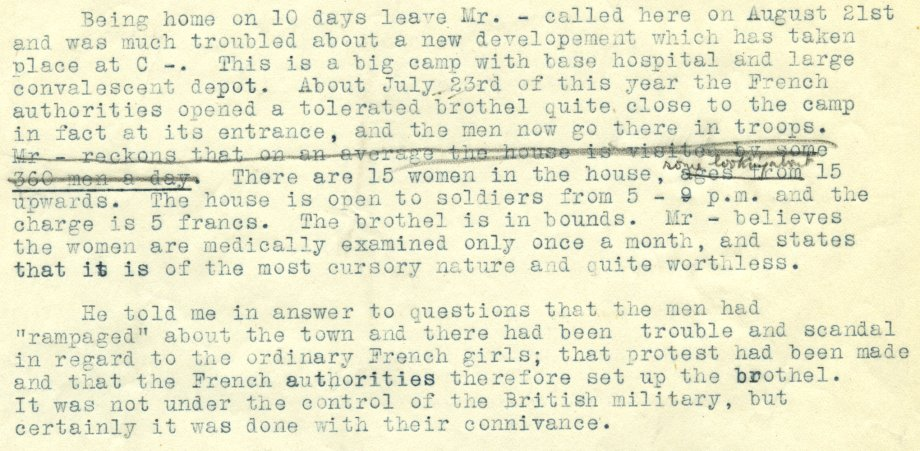 Report of an interview with an army chaplain regarding prostitution on the Front, c.1917