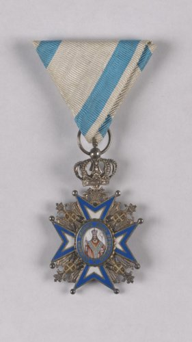 Insignia of the Fifth Class of the Order of Saint Sava, conferred on Kathleen D'Olier Courtney, 1918